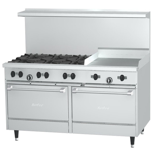 "Garland SunFire Series X60-6G24RS Natural Gas 60"" 6 Burner Range with 24"" Griddle, 1 Standard Oven, and 1 Storage Base - 249,000 BTU"