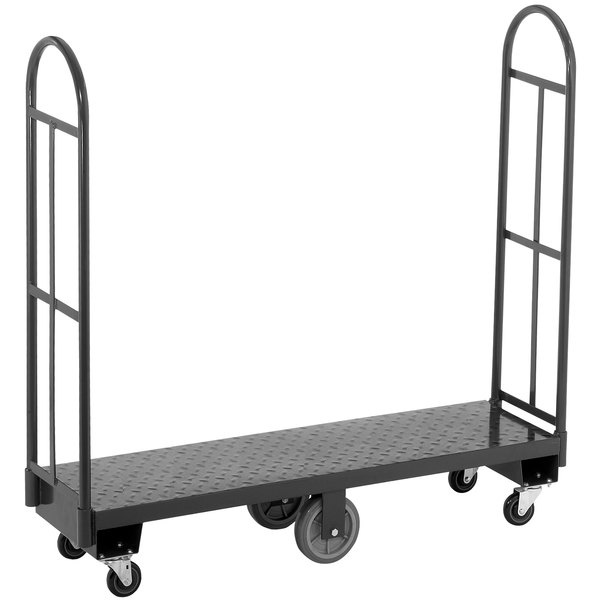 "Channel U1660DS 16"" x 60"" Steel U-Boat Stocking Truck with Treaded Deck - 2500 lb. Capacity"