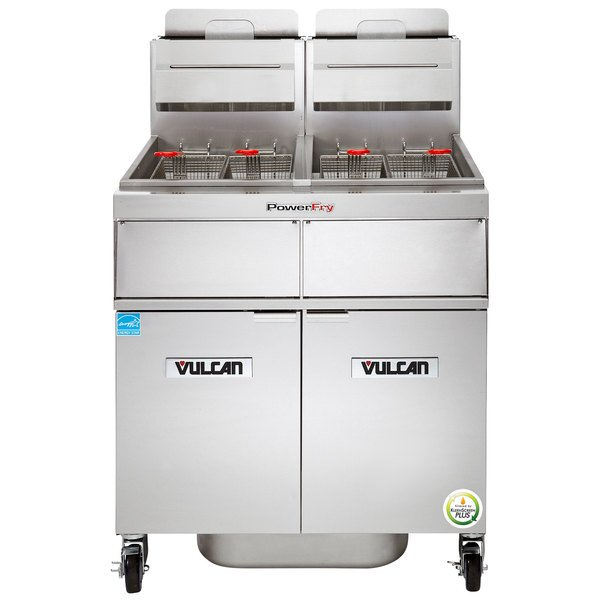 Vulcan 2TR65AF-1 PowerFry3 Natural Gas 130-140 lb. 2 Unit Floor Fryer System with Solid State Analog Controls and KleenScreen Filtration - 160,000 BTU