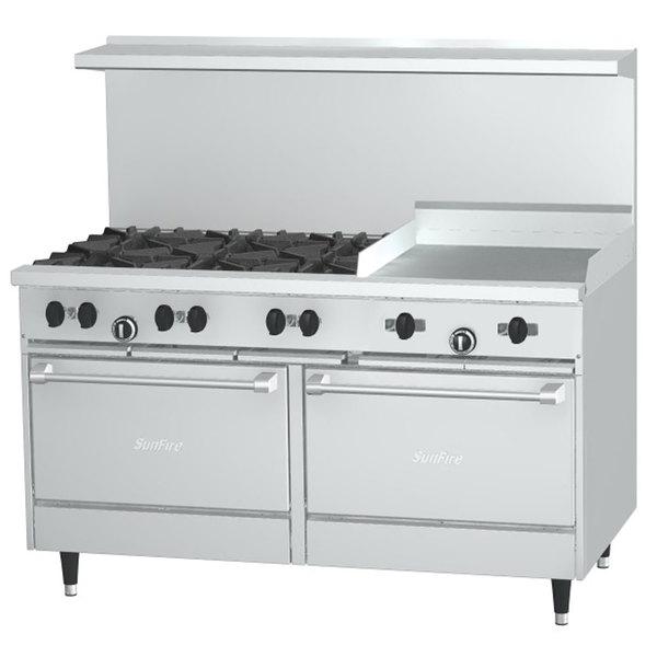 "Garland SunFire Series X60-6G24RS Liquid Propane 60"" 6 Burner Range with 24"" Griddle, 1 Standard Oven, and 1 Storage Base - 221,000 BTU"