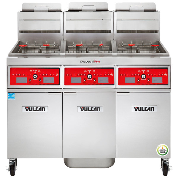 Vulcan 3TR45CF-2 PowerFry3 Liquid Propane 135-150 lb. 3 Unit Floor Fryer System with Computer Controls and KleenScreen Filtration - 210,000 BTU