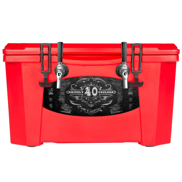 Grizzly Cooler 9080 2 Faucet Red 40 Qt. Jockey BrewBox with (2) 75' Coils Main Image 1