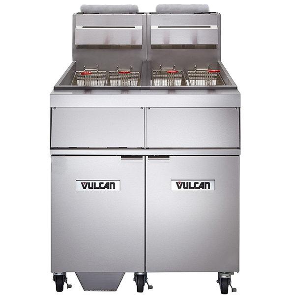 Vulcan 2GR65MF-1 Natural Gas 130-140 lb. 2 Unit Floor Fryer System with Millivolt Controls and KleenScreen Filtration - 300,000 BTU Main Image 1