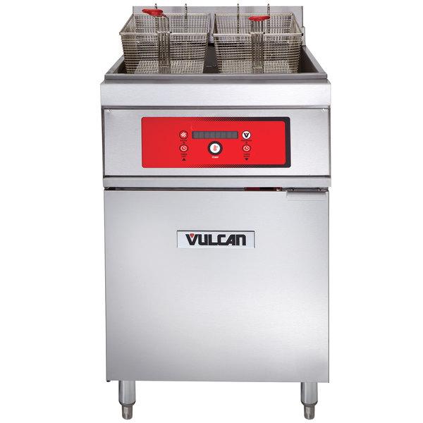 Vulcan 1ER85D-2 85 lb. Electric Floor Fryer with Digital Controls - 480V, 3 Phase, 24 kW