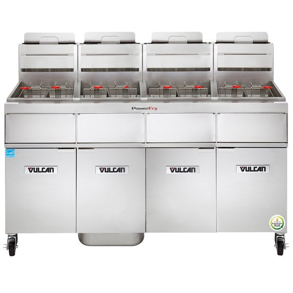 Vulcan 4TR85AF-2 PowerFry3 Liquid Propane 340-360 lb. 4 Unit Floor Fryer System with Solid State Analog Controls and KleenScreen Filtration - 360,000 BTU