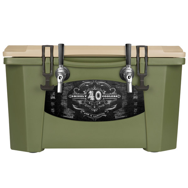 Grizzly Cooler 9080 2 Faucet Olive Green 40 Qt. Jockey BrewBox with (2) 75' Coils