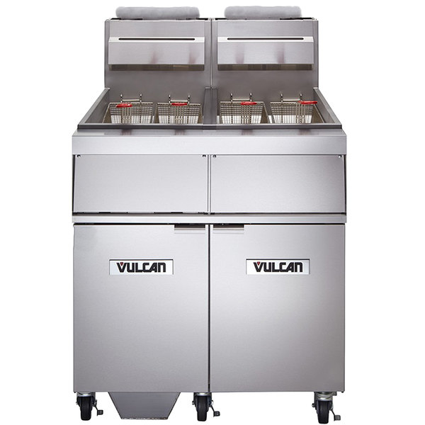 Vulcan 2GR85MF-1 Natural Gas 170-180 lb. 2 Unit Floor Fryer System with Millivolt Controls and KleenScreen Filtration - 300,000 BTU