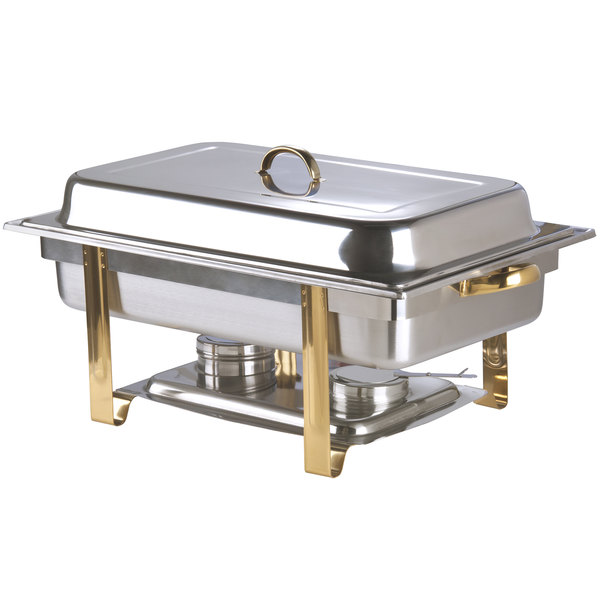 Choice Deluxe 8 Qt. Full Size Gold Accent Chafer