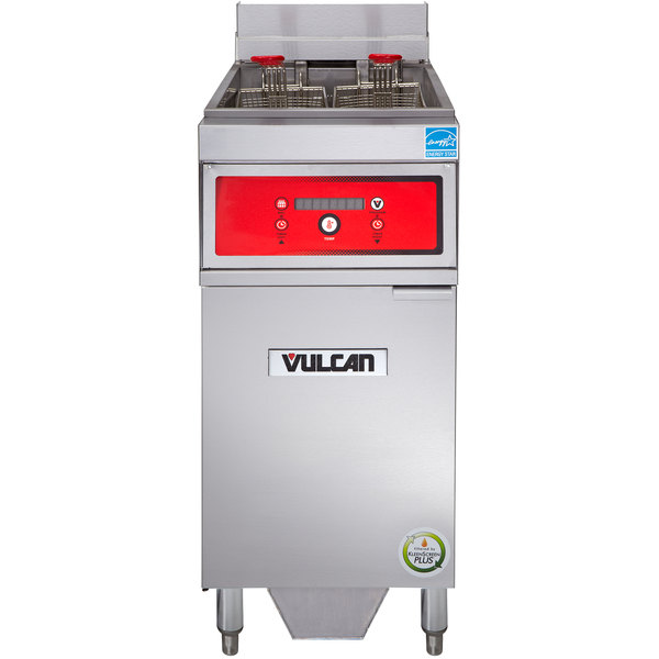 Vulcan 1ER50DF-2 50 lb. Electric Floor Fryer with Digital Controls and KleenScreen Filtration - 480V, 3 Phase, 17 kW