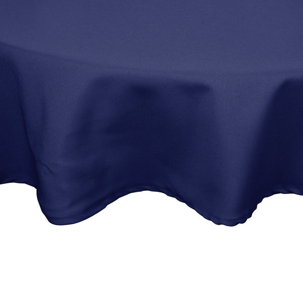 132 inch Round Navy Blue 100% Polyester Hemmed Cloth Table Cover