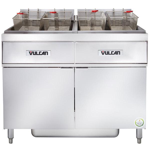 Vulcan 2ER85AF-2 170 lb. 2 Unit Electric Floor Fryer System with Analog Controls and KleenScreen Filtration - 480V, 3 Phase, 48 kW