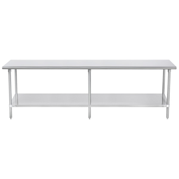 "Advance Tabco SAG-369 36"" x 108"" 16 Gauge Stainless Steel Commercial Work Table with Undershelf"