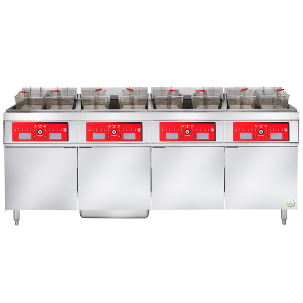 Vulcan 4ER50CF-2 200 lb. 4 Unit Electric Floor Fryer System with Computer Controls and KleenScreen Filtration - 480V, 3 Phase, 68 kW
