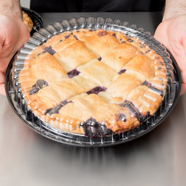 """D&W Fine Pack J44-1 10"""" Black Pie Take Out Container with Clear Low Dome Lid - 160/Case"""