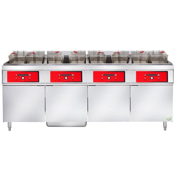 Vulcan 4ER50DF-1 200 lb. 4 Unit Electric Floor Fryer System with Digital Controls and KleenScreen Filtration - 208V, 3 Phase, 68 kW