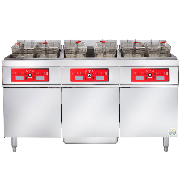 Vulcan 3ER50CF-2 150 lb. 3 Unit Electric Floor Fryer System with Computer Controls and KleenScreen Filtration - 480V, 3 Phase, 51 kW