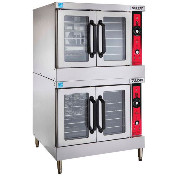 Vulcan SG44 NAT Natural Gas Double Deck Full Size Gas Convection Oven With Solid State Controls 120 000 BTU