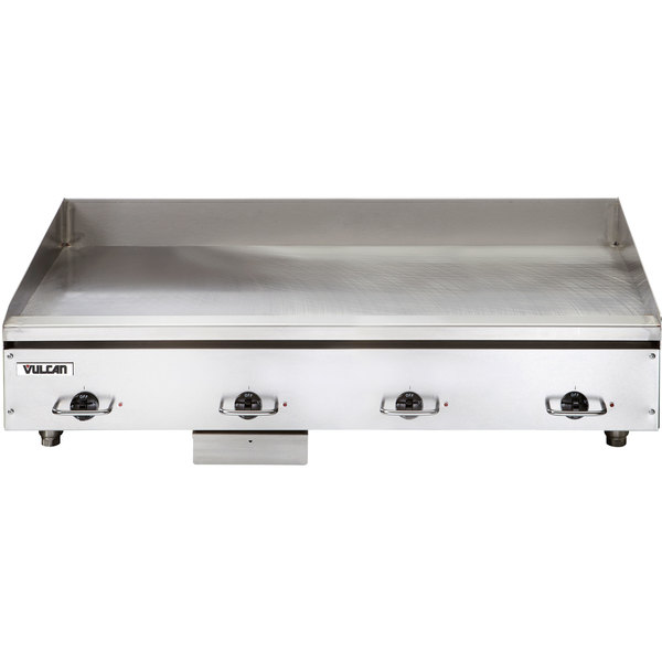 "Vulcan HEG48E 48"" Electric Countertop Griddle with Snap-Action Thermostatic Controls - 208V, 3 Phase, 21.6 kW"