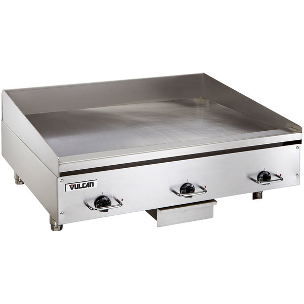 "Vulcan HEG36E 36"" Electric Countertop Griddle with Snap-Action Thermostatic Controls - 208V, 3 Phase, 16.2 kW Main Image 1"