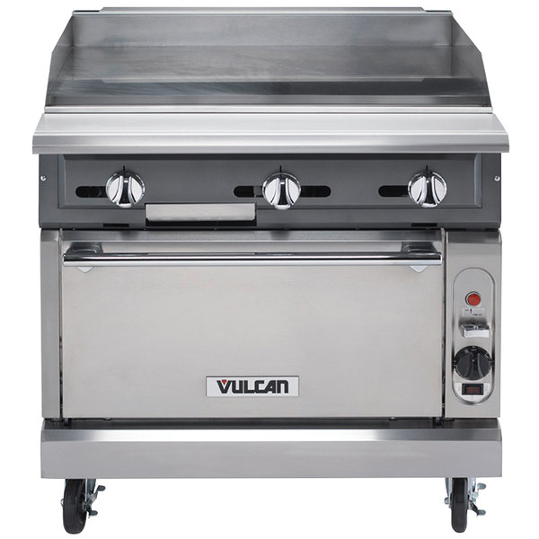 """Vulcan VGM36C-LP V Series Liquid Propane 36"""" Heavy-Duty Manual Range with Griddle Top and Convection Oven - 122,000 BTU"""