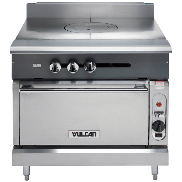 """Vulcan V1FT36S-NAT V Series Natural Gas Heavy-Duty Range with 36"""" French Top and Standard Oven - 95,000 BTU"""