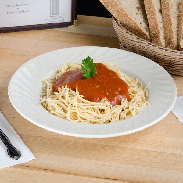 Tuxton MED-111 Meridian 20 oz. Eggshell Embossed Swirl Rim China Soup / Pasta Bowl - 12/Case Main Image 3