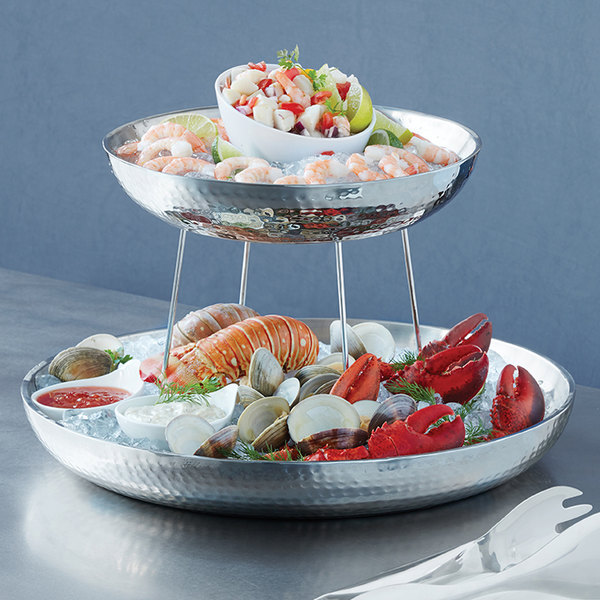 "American Metalcraft DWHSEA14 98 oz. Stainless Steel Double Wall Seafood Tray with Hammered Finish - 13 3/4"" x 2 1/4"""