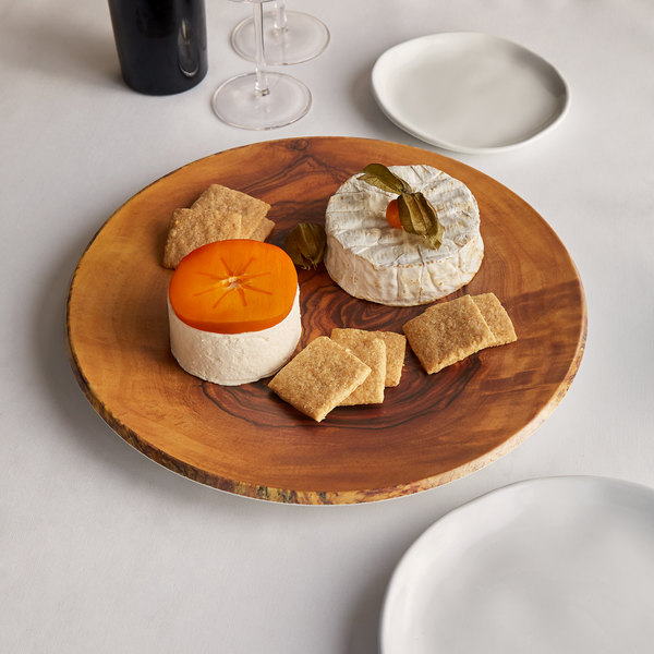 """American Metalcraft OWM14 14"""" Round Melamine Serving Board / Charger - Faux Olive Wood"""