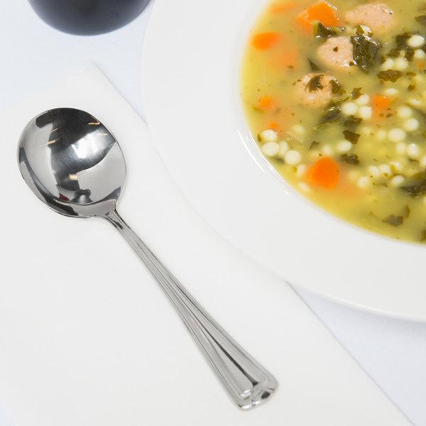 "World Tableware 578 016 Fairfield 5 3/4"" 18/0 Stainless Steel Heavy Weight Bouillon Spoon - 36/Case"