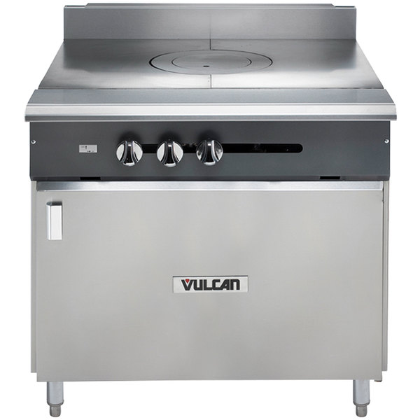 "Vulcan V1FT36B-NAT V Series Natural Gas Heavy-Duty Range with 36"" French Top and Cabinet Base - 45,000 BTU"