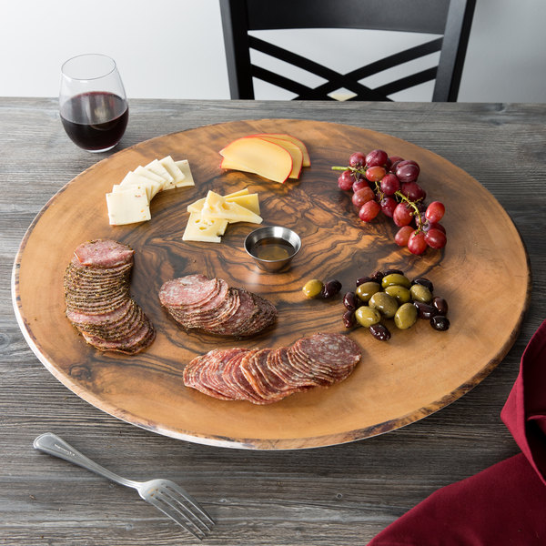 """American Metalcraft OWM21 21 1/2"""" Round Melamine Serving Board - Faux Olive Wood Main Image 7"""