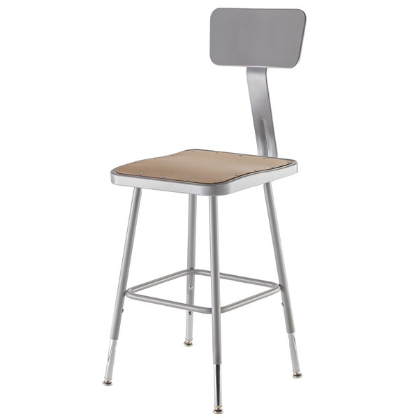 "National Public Seating 6318HB 19"" - 27"" Gray Adjustable Hardboard Square Lab Stool with Adjustable Back Main Image 1"