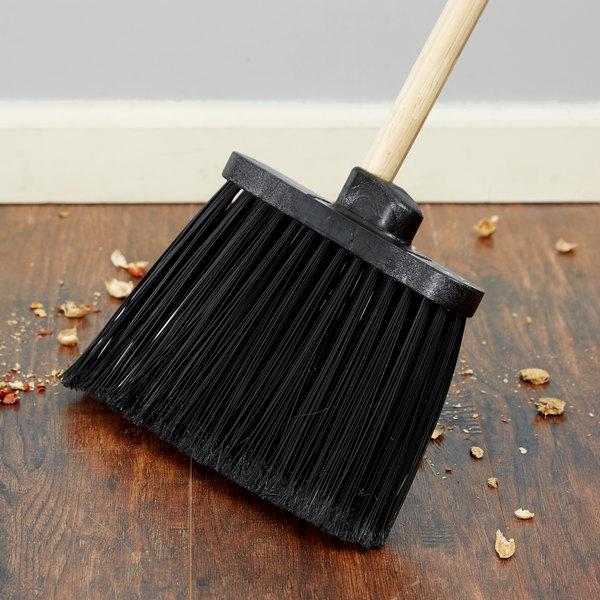 "Carlisle 3686703 Duo-Sweep 12"" Medium Duty Angled Broom Head with Black Flagged Bristles Main Image 4"