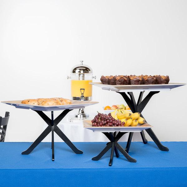 Tablecraft RFTT3BK 3-Piece Fold-A-Way Black Riser Set