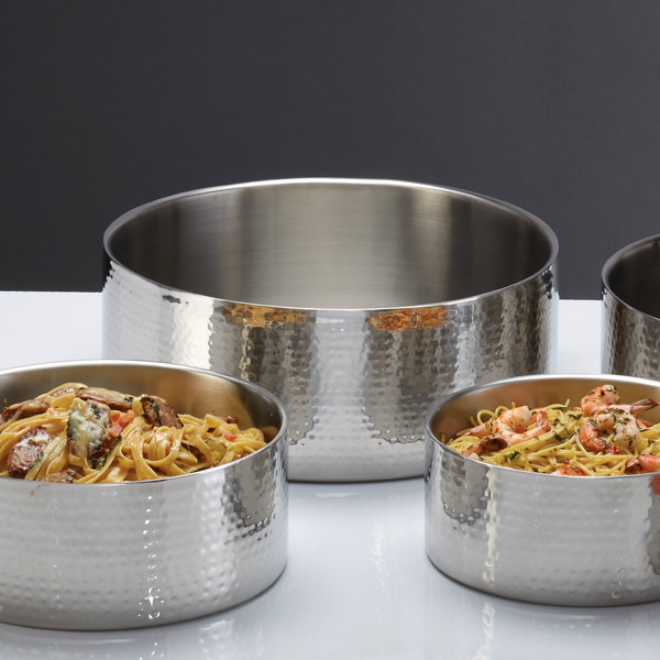 """American Metalcraft DWBH16 Round Stainless Steel Double Wall Serving Bowl with Hammered Finish - 16"""" x 5 3/4"""""""
