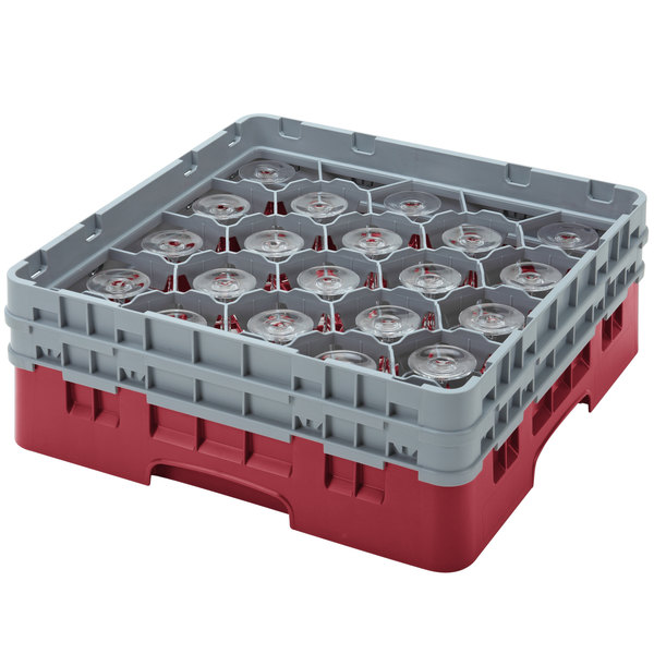 "Cambro 20S638416 Camrack 6 7/8"" High Customizable Cranberry 20 Compartment Glass Rack"