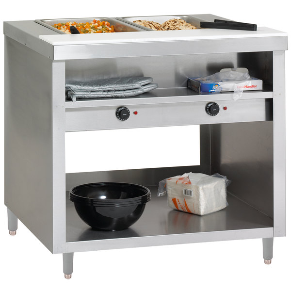 Delfield EHEI48L E-Chef 3 Pan Sealed Well Electric Steam Table with Legs - 208/230V Main Image 1