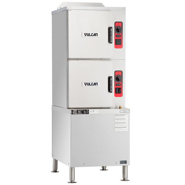 Vulcan C24GA10-PS-NAT 6 Pan Natural Gas Floor Steamer with Cabinet Base and Professional Controls - 125,000 BTU
