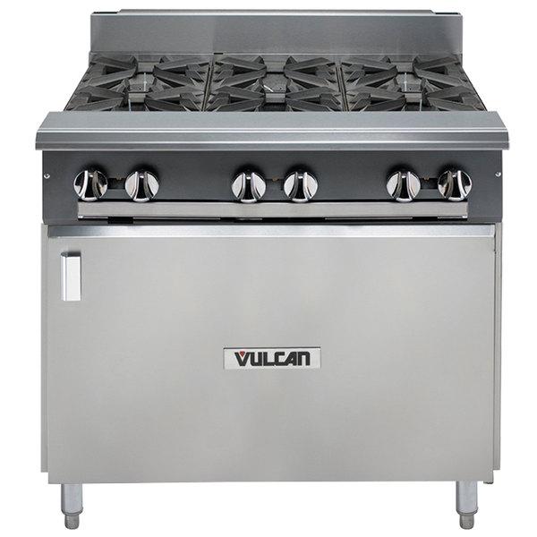 "Vulcan V6B36B-NAT V Series Natural Gas 6 Burner 36"" Heavy-Duty Range with Cabinet Base - 198,000 BTU"
