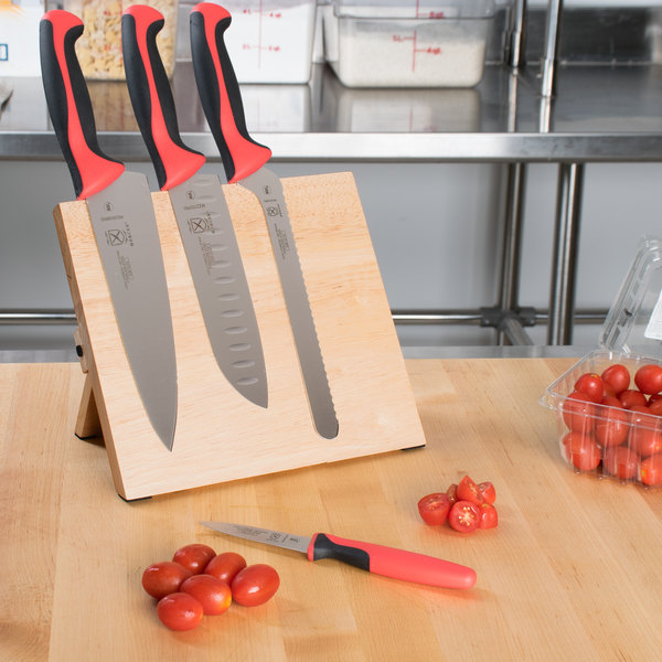 Mercer Culinary M21980RD Millennia 5-Piece Rubberwood Magnetic Board and Red Handle Knife Set