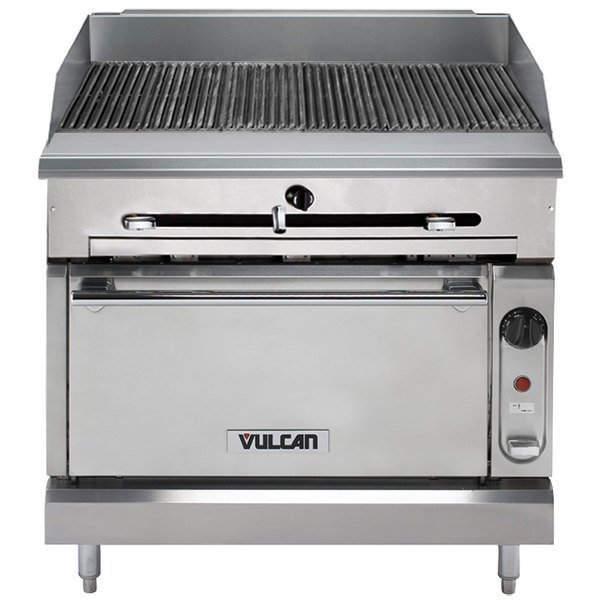 "Vulcan VTC36S-NAT Natural Gas 36"" Gas Floor Model Infrared Charbroiler with Standard Oven Base - 116,000 BTU"