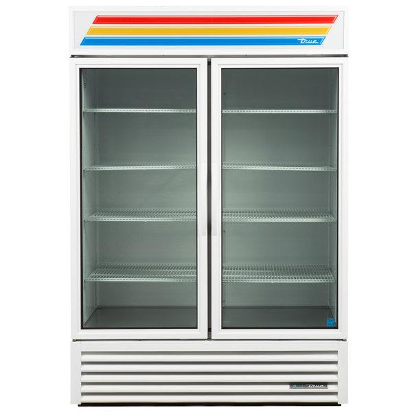 True GDM-49-LD White Glass Door Refrigerated Merchandiser with LED Lighting