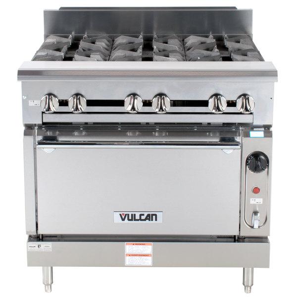 "Vulcan V6B36S-NAT V Series Natural Gas 6 Burner 36"" Heavy-Duty Range with Standard Oven - 248,000 BTU"