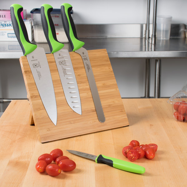 Mercer Culinary M21981GR Millennia 5-Piece Bamboo Magnetic Board and Green Handle Knife Set