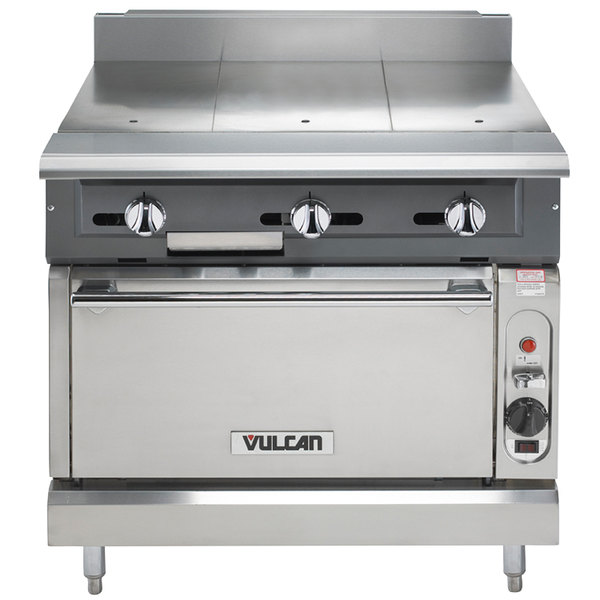 """Vulcan V336HC-NAT V Series Natural Gas 3 Burner Heavy-Duty Range with 36"""" Hot Top and Convection Oven - 122,000 BTU"""
