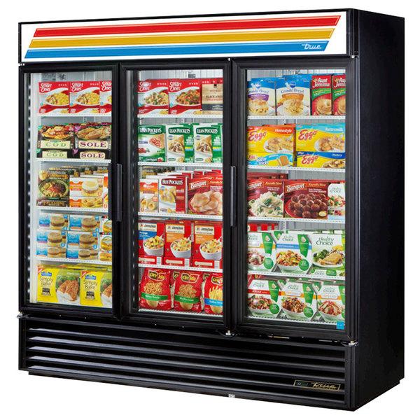 True GDM-72F-LD 78 inch Black Glass Door Merchandiser Freezer with LED Lighting