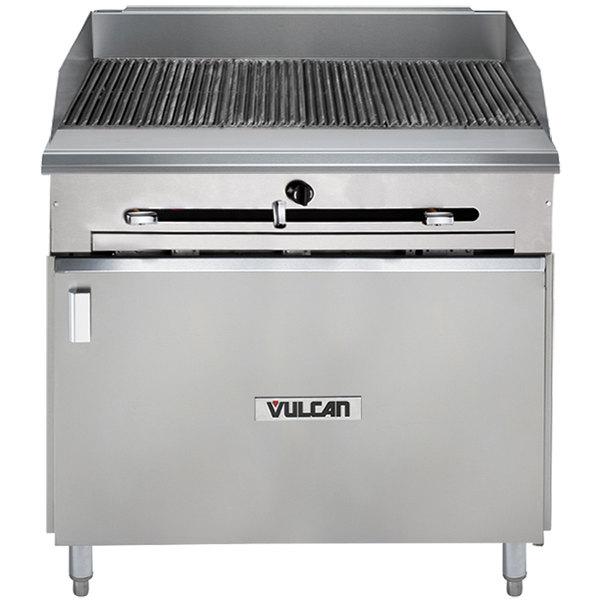 "Vulcan VTC36B-NAT Natural Gas 36"" Gas Floor Model Infrared Charbroiler with Cabinet Base - 66,000 BTU"