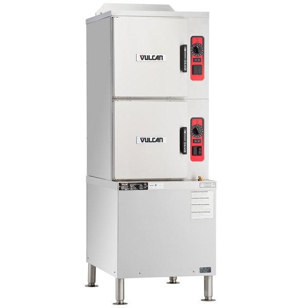 Vulcan C24GA6-BSC-NAT 6 Pan Natural Gas Floor Steamer with Cabinet Base and Basic Controls - 125,000 BTU Main Image 1