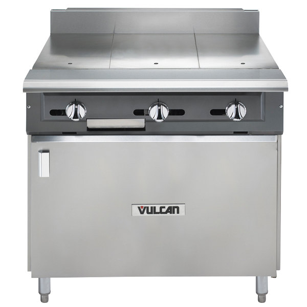 "Vulcan V336HB-NAT V Series Natural Gas 3 Burner Heavy-Duty Range with 36"" Hot Top and Cabinet Base - 90,000 BTU"