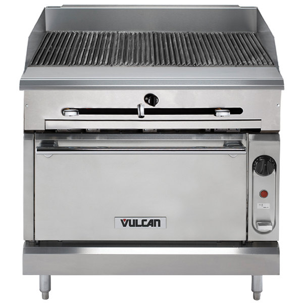 """Vulcan VTC36C-LP Liquid Propane 36"""" Gas Floor Model Infrared Charbroiler with Convection Oven Base - 98,000 BTU"""